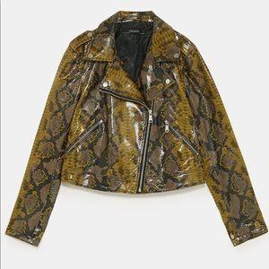 Zara shiny snakeskin print biker jacket
